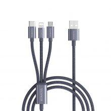 کابل تبدیل USB  به Lightning، Micro USB و TypeC روموس مدل CB25 طول 1.5متر – 3in1